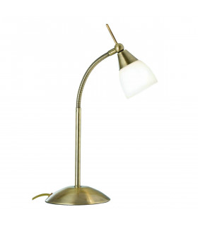 Lampe de table Touch Lamps, en laiton antique et verre opale