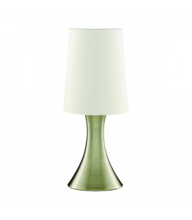 Lampe de table Touch Lamps 30 cm, en laiton antique, abat-jour blanc
