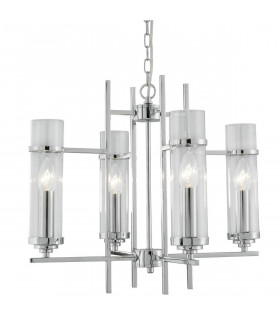 Suspension 4 ampoules Milo, en chrome et verre