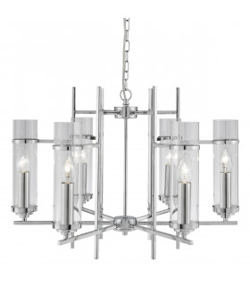 Suspension 6 ampoules Milo, en chrome et verre