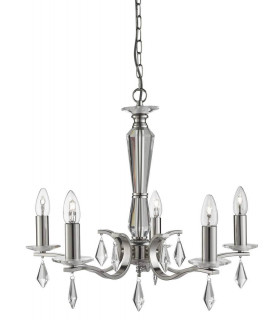 Suspension 5 ampoules Royale, en argent satiné et cristal