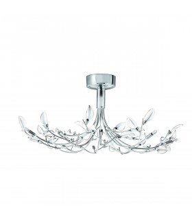 Suspension Wisteria, en chrome et verre blanc