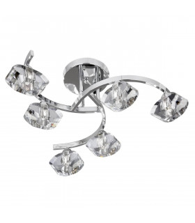 Plafonnier 6 ampoules Sculptured Ice, en chrome et verre