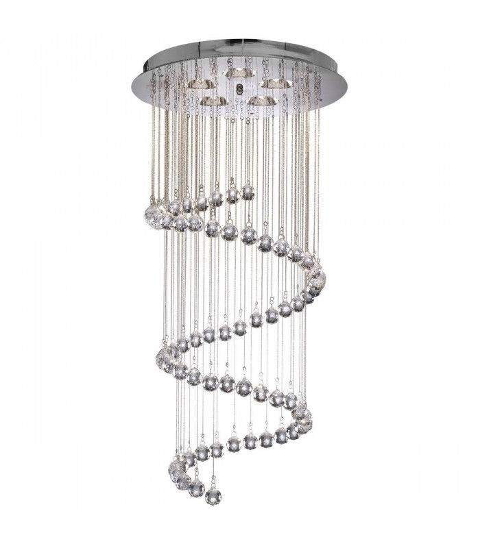 Suspension spirale Hallway, en chrome et cristal