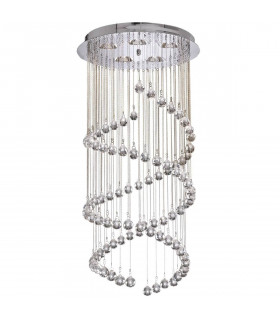 Suspension double spirale Hallway, en chrome et cristal