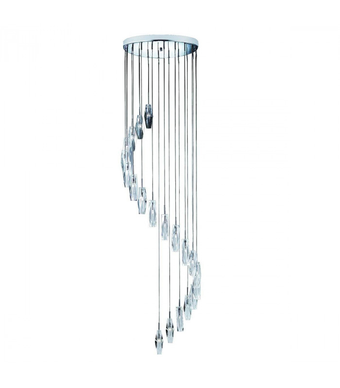 Suspension 20 ampoules Sculptured Ice, en chrome et verre K9