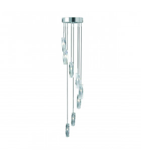 Suspension 8 ampoules Sculptured Ice, en chrome et verre K9