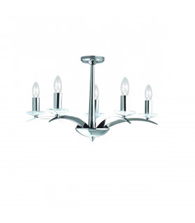 Suspension 5 ampoules Kensignton, en chrome et verre