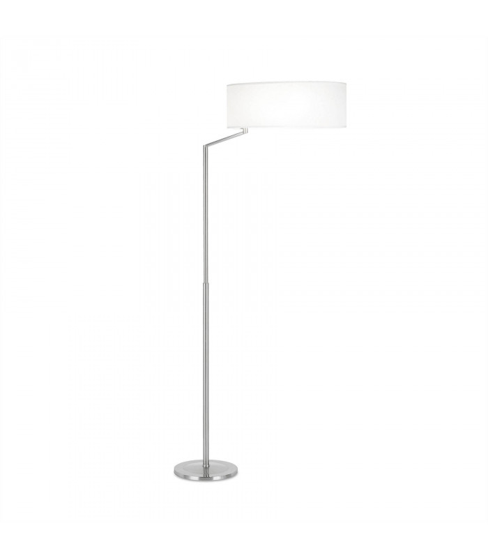 Lampe Twist, nickel satiné et abat jour blanc
