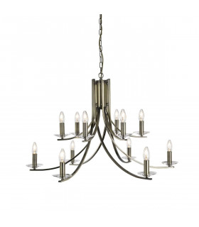 Suspension 12 ampoules Ascona, en laiton antique et verre