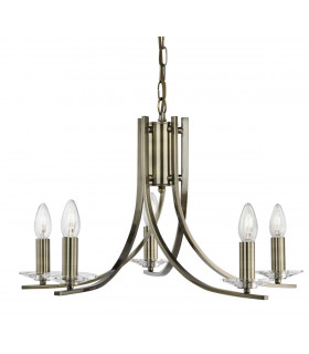 Suspension 5 ampoules Ascona, en laiton antique et verre