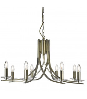 Suspension 8 ampoules Ascona, en laiton antique et verre