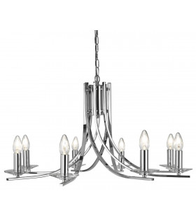 Suspension 8 ampoules Ascona, en chrome et verre