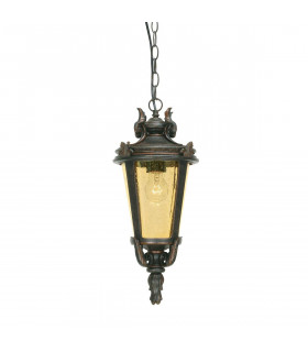 Suspension Baltimore, bronze et verre ambre, grande