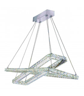 Suspension rectangle Clover en chrome, cristal et verre