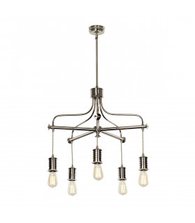 Chandelier Douille, 5 éclairages, finition nickel poli