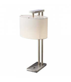 Lampe de table Belmont, nickel brossé, abat-jour blanc