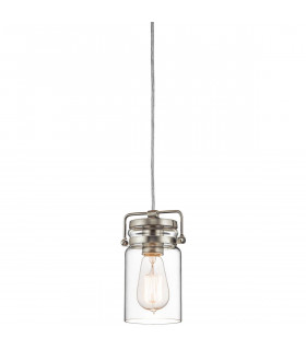 Suspension Brinley, nickel brossé, verre