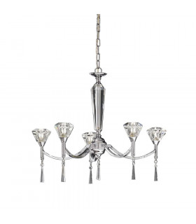 Suspension chromée en cristal Desian 5 Ampoules