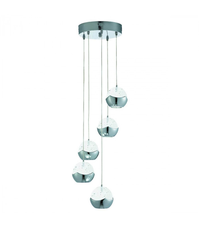Suspension LED Iceball en chrome et acrylique