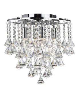 Suspension 4 ampoules Dorchester, en chrome et cristal