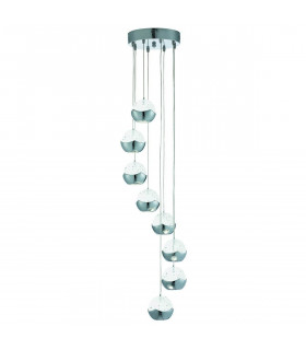 Suspension 8 LED Iceball en chrome et verre