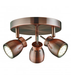 Plafonnier Jupiter finition cuivre antique, 3 spots LED