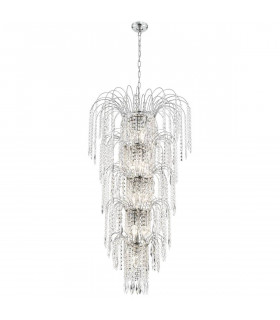 Suspension 13 ampoules Waterfall, en chrome et cristal
