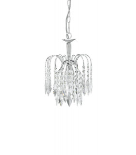 Suspension 1 ampoule Waterfall, en chrome et cristal