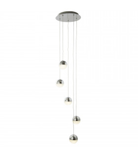 Suspension Marbles, chrome et verre, 1 ampoule