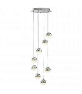 Suspension Marbles, chrome et verre, 5 ampoules