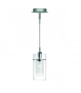 Suspension 1 ampoule Duo1 en chrome et verre