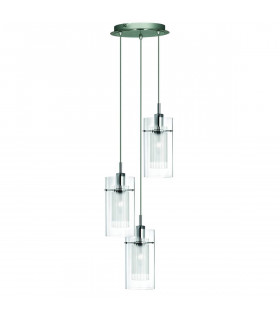 Suspension 3 ampoules Duo1 en chrome et verre
