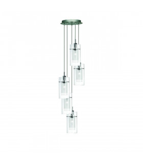 Suspension 5 ampoules Duo1 en chrome et verre