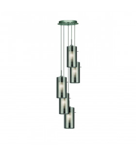 Suspension 5 ampoules Duo2 en chrome et verre